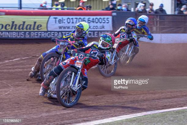 Richie Worrall leads Josh Bates , Jye Etheridge and Kyle Howarth during the SGB Premiership match between Belle Vue Aces and Sheffield Tigers at the...