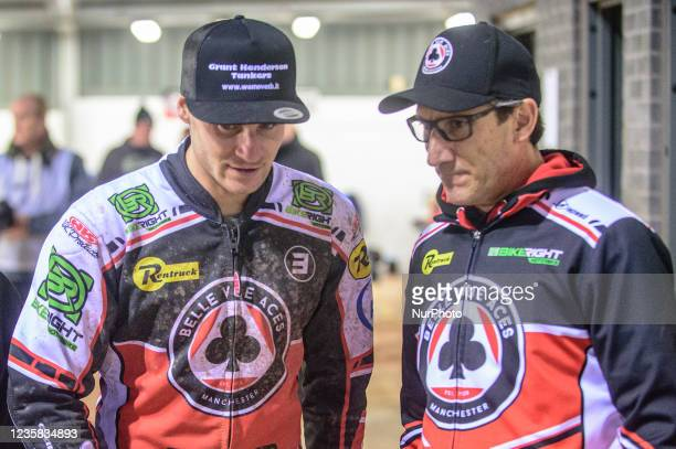Richie Worrall with Belle Vue BikeRight Aces Manager Mark Lemon during the SGB Premiership Grand Final 1st Leg between Belle Vue Aces and...