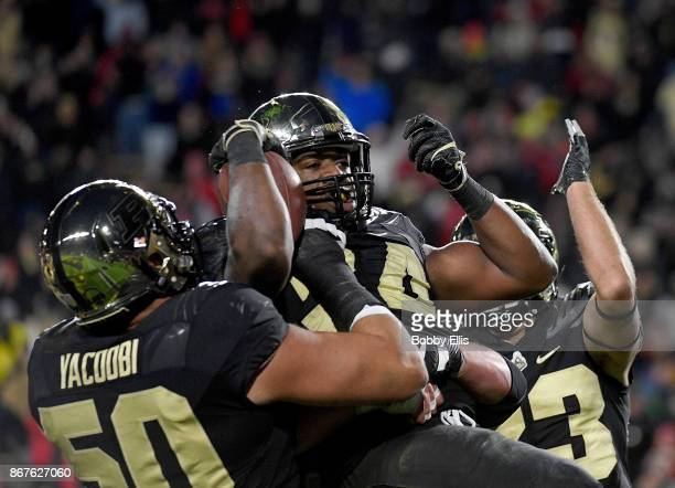 Richie Worship of the Purdue Boilermakers celebrates after scoring a touchdown in the second quarter in the game between the Purdue Boilermakers and...