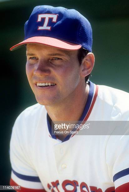 Richie Zisk of the Texas Rangers stands in the dugout before a spring training Major League Baseball game against the New York Yankees circa 1978 at...