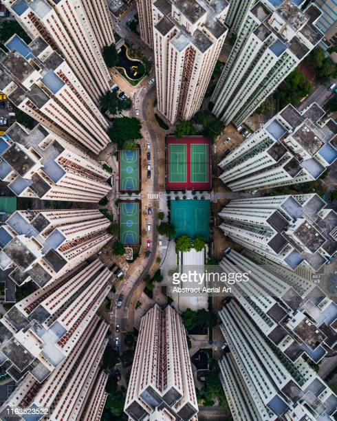 richland gardens building complex taken by drone, kowloon bay, hong kong - image stock pictures, royalty-free photos & images