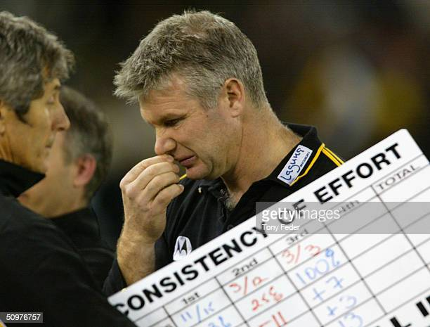Richmond coach Danny Frawley at three quarter time during the AFL match between Richmond and Carlton at Telstra Dome Jun 19 2004 in Melbourne...