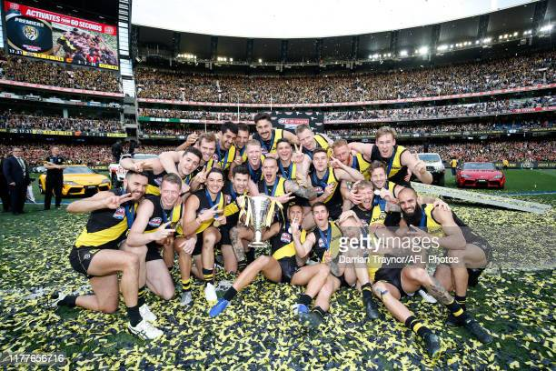 Richmond players celebrate winning the 2019 AFL Grand Final match between the Richmond Tigers and the Greater Western Sydney Giants at Melbourne...