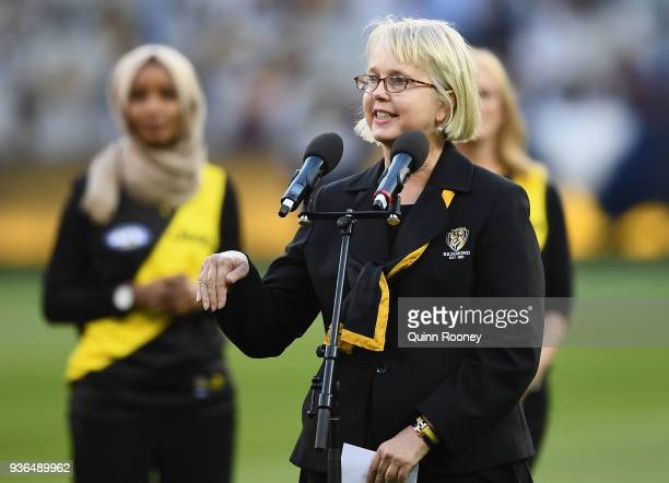Richmond president Peggy O'Neil speaks before unfurling the Premiership Flag during the round one AFL match between the Richmond Tigers and the...