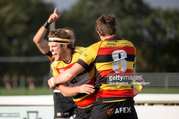Richmond Rugbys James Swan celebrates scoring his sides third try during the British Irish Cup Pool 4 match between Richmond and Rotherham Titans at...