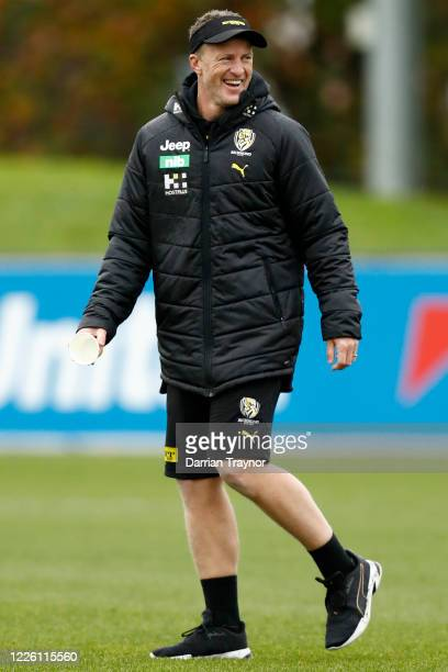 Richmond senior coach, Damien Hardwick looks on during a Richmond Tigers AFL training session at Punt Road Oval on May 21, 2020 in Melbourne,...