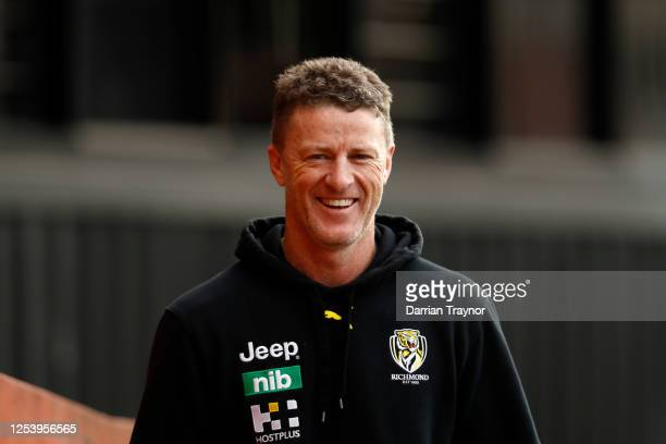 Richmond senior coach, Damien Hardwick looks on during a Richmond Tigers AFL training session at Punt Road Oval on July 03, 2020 in Melbourne,...