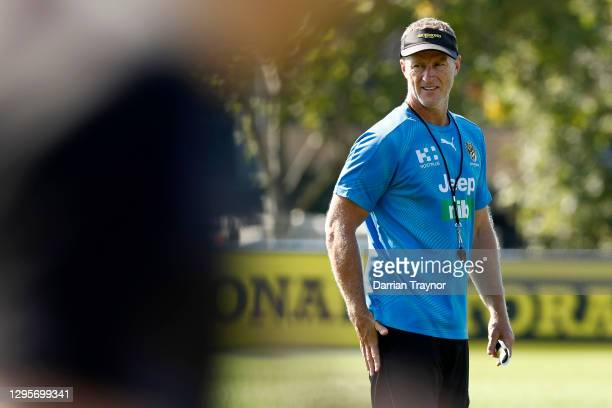 Richmond senior coach, Damien Hardwick looks on during a Richmond Tigers AFL training session at Punt Road Oval on January 11, 2021 in Melbourne,...