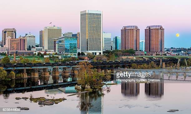 richmond skyline with supermoon - richmond virginia stock pictures, royalty-free photos & images
