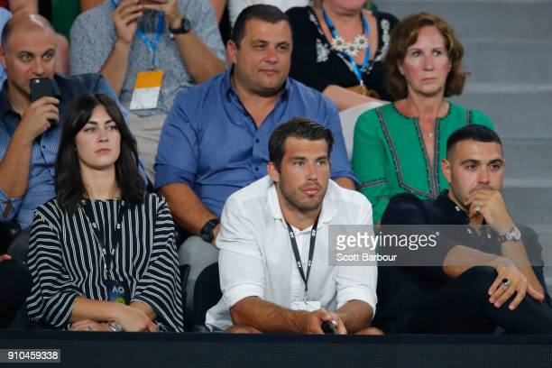 Richmond Tigers AFL footballer Alex Rance watches the semifinal match between Hyeon Chung of South Korea and Roger Federer of Switzerland on day 12...