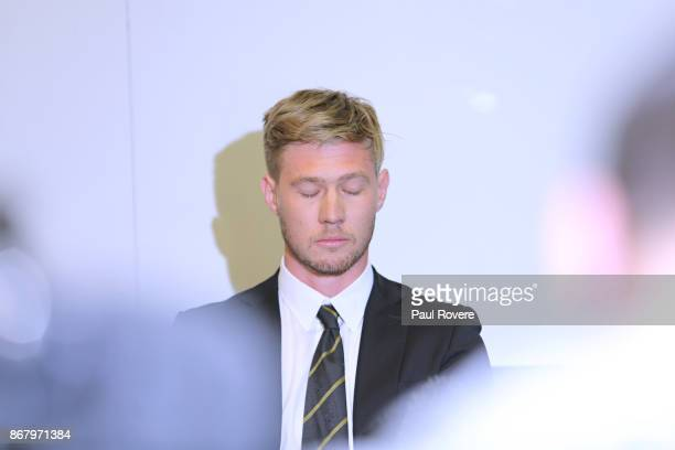 Richmond Tigers AFL player Nathan Broad speaks to the media at Punt Road Oval on October 30 2017 in Melbourne Australia Richmond has suspended Broad...