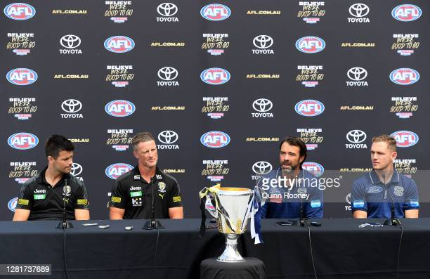 Richmond Tigers captain Trent Cotchin, Richmond Tigers coach Damien Hardwick, Geelong Cats coach Chris Scott and Geelong Cats captain Joel Selwood...