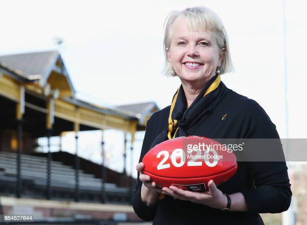 Richmond Tigers CEO Peggy O'Neal poses during an AFLW press conference at Punt Road Oval on September 27 2017 in Melbourne Australia