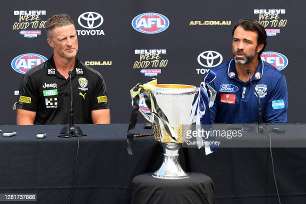 Richmond Tigers coach Damien Hardwick and Geelong Cats coach Chris Scott attend a media opportunity ahead of the 2020 AFL Grand Final, at Metricon...