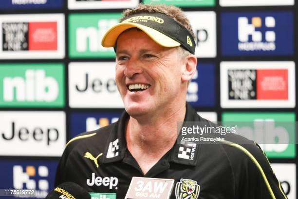 Richmond Tigers Football club coach Damien Hardwick speaks to the media during a press conference during a Richmond Tigers AFL training session at...