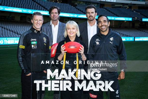 Richmond Tigers head coach Damien Hardwick, AFL CEO Gillon McLachlan, Richmond Tigers President Peggy O'Neal, Richmond Tigers CEO Brendon Gale and...