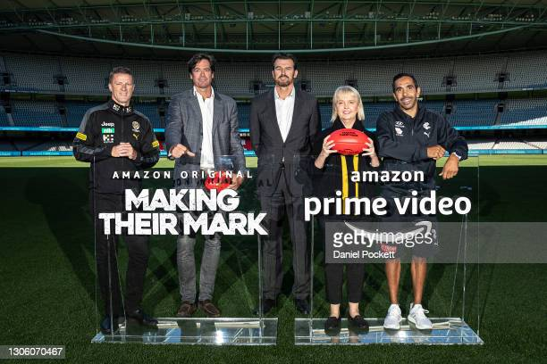Richmond Tigers head coach Damien Hardwick, AFL CEO Gillon McLachlan, Richmond Tigers CEO Brendon Gale, Richmond Tigers President Peggy O'Neal and...