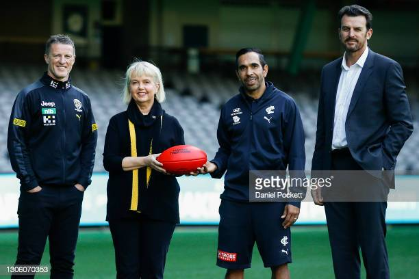 Richmond Tigers head coach Damien Hardwick, Richmond Tigers President Peggy O'Neal, Carlton Blues footballer Eddie Betts and Richmond Tigers CEO...