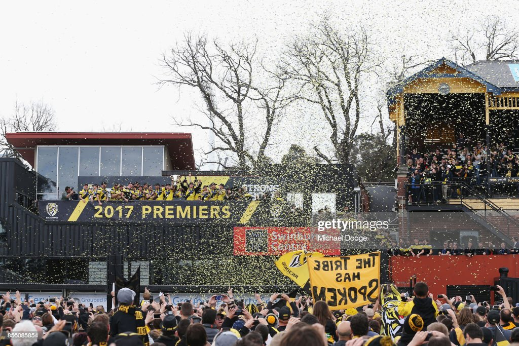 Richmond Tigers players celebrate winning yesterday's AFL Grand Final, at Punt Road Oval on October 1, 2017 in Melbourne, Australia.