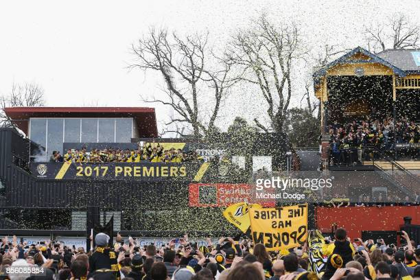 Richmond Tigers players celebrate winning yesterday's AFL Grand Final at Punt Road Oval on October 1 2017 in Melbourne Australia