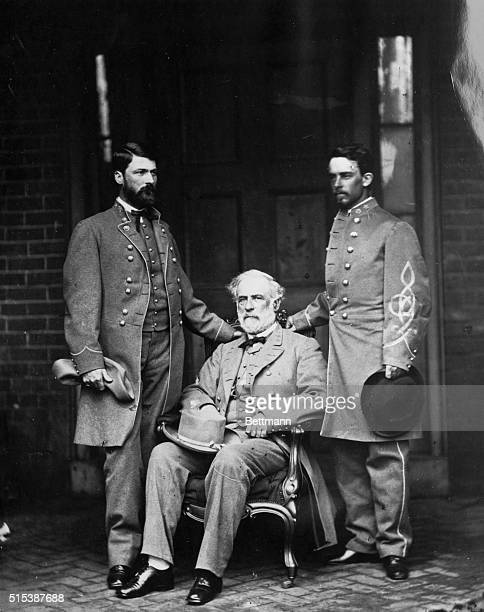 Robert E Lee after Appomattox on the porch of Richmond Virginia House On the left of photo is Major General Washington Custis Lee to the right is Col...