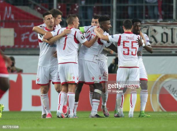 Richmond Y Boakye of Belgrad celebrates after scoring his team`s first goal during the UEFA Europa League group H match between 1 FC Koeln and Crvena...