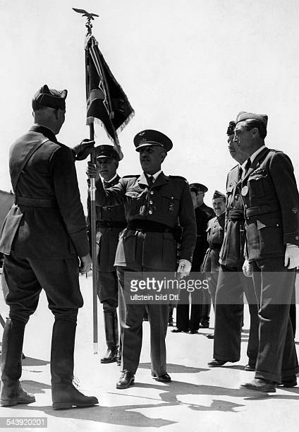 Richthofen Wolfram Officer Field Marshal General Germany*10101895 receiving a standard of honour by general Francisco Franco 1939 Photographer...