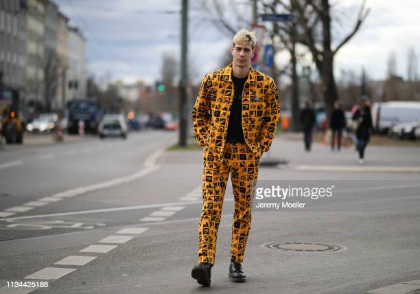 Richy Koll wearing a complete Obey clothing outfit and DrMartens shoes on March 07 2019 in Berlin Germany