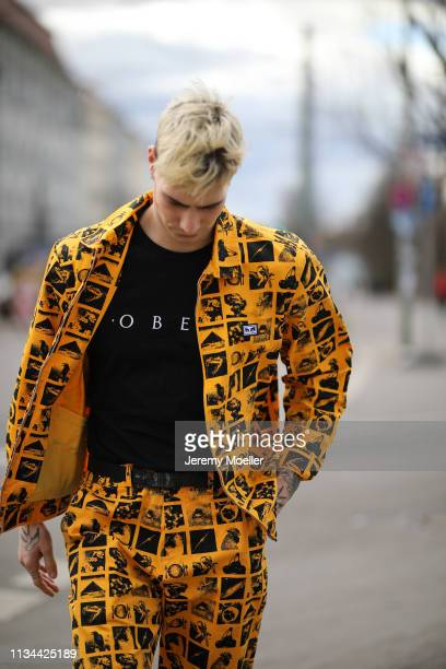 Richy Koll wearing a complete Obey clothing outfit on March 07 2019 in Berlin Germany