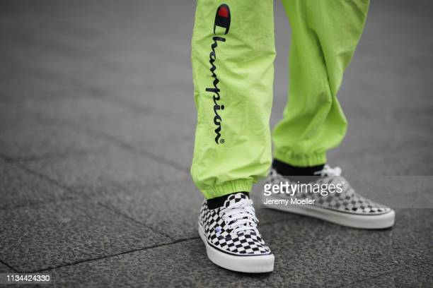 Richy Koll wearing Champion x Supreme pants and Vans shoes on March 07 2019 in Berlin Germany