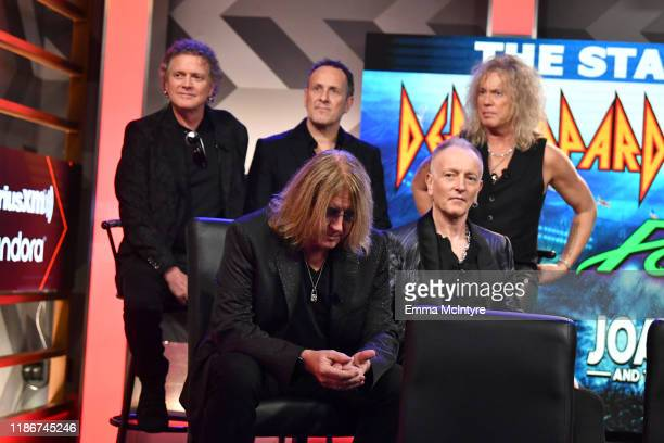 Rick Allen Joe Elliott Vivian Campbell Phil Collen and Rick Savage of Def Leppard attend the press conference for THE STADIUM TOUR DEF LEPPARD MOTLEY...