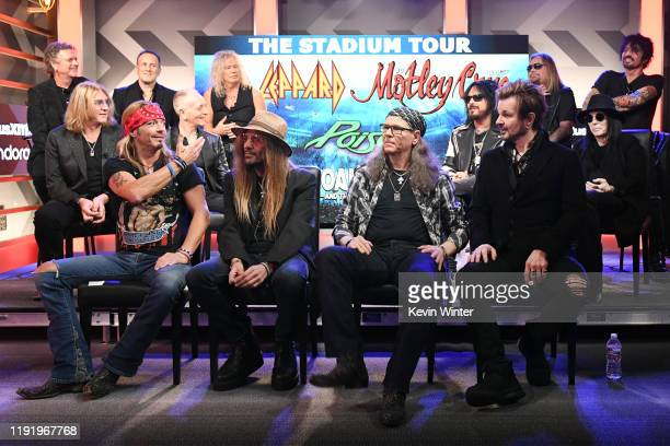 Rick Allen Joe Elliott Vivian Campbell Phil Collen and Rick Savage of Def Leppard Nikki Sixx Vince Neil Mick Mars and Tommy Lee of Mötley Crüe and...