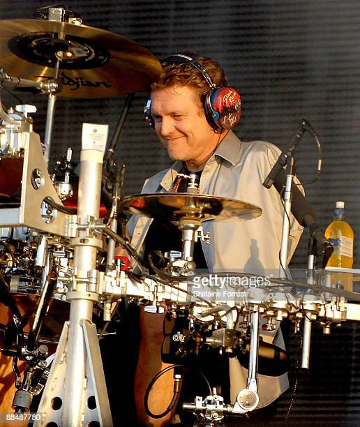 Rick Allen of Def Leppard performs headlining the main stage at day three of the Download Festival at Donington Park on June 14, 2009 in Castle...