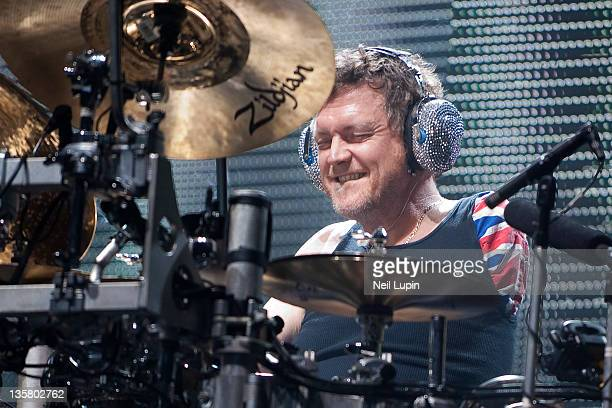 Rick Allen of Def Leppard performs on stage at Wembley Arena on December 14, 2011 in London, United Kingdom.