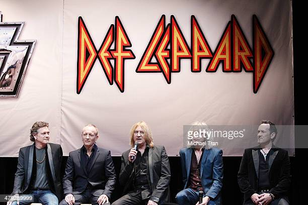 Rick Allen Phil Collen Joe Elliott Rick Savage and Vivian Campbell of Def Leppard attend the announcment of their 2014 Summer tour held at The House...