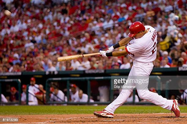 Rick Ankiel of the St Louis Cardinals hits a solo home run against the San Diego Padres at Busch Stadium July 17 2008 in St Louis Missouri The...