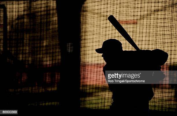 Rick Ankiel of the St Louis Cardinals takes batting practice on the back fields before a game against the Washington Nationals during a spring...