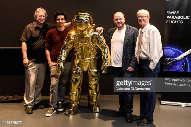 Rick Armstrong Damien Chazelle Dmitry Kiselyov and James Hansen attend Starmus V A Giant Leap sponsored by Kaspersky at Samsung Hall on June 26 2019...