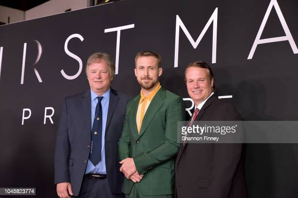 Rick Armstrong Ryan Gosling and Mark Armstrong attend the First Man premiere at the National Air and Space Museum on October 4 2018 in Washington DC
