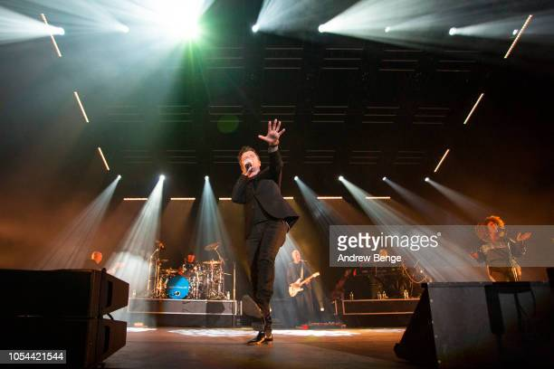 Rick Astley performs live on stage at Manchester Arena on October 27, 2018 in Manchester, England.