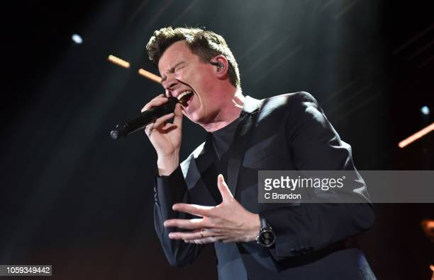 Rick Astley performs on stage at the Eventim Apollo on November 8 2018 in London England