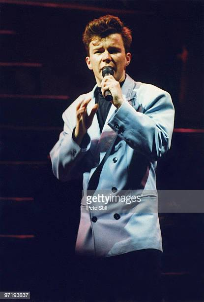 Rick Astley performs on stage at Wembley Arena on December 15th 1988 in London England