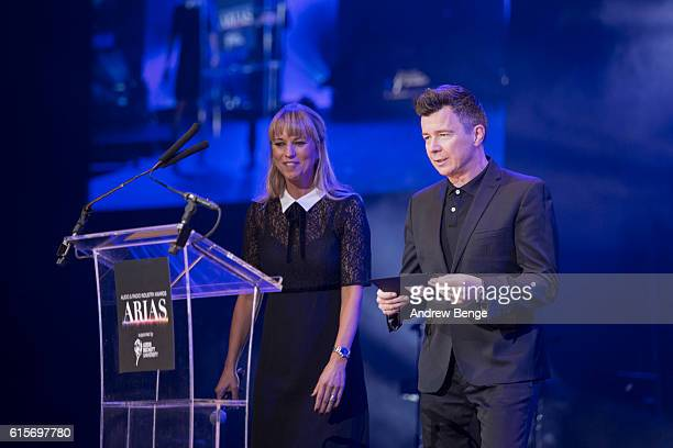 Rick Astley presents the award for Best Local Station at the Audio Radio Industry Awards at First Direct Arena Leeds on October 19 2016 in Leeds...