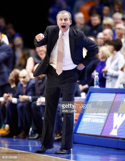 Rick Barnes the head coach of the Tennessee Volunteers gives instructions to his team against the Kentucky Wildcats during the game at Rupp Arena on...