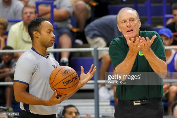 Rick Barry coach of the Ball Hogs talks to the referee during the game against the 3 Headed Monsters during week seven of the BIG3 three on three...