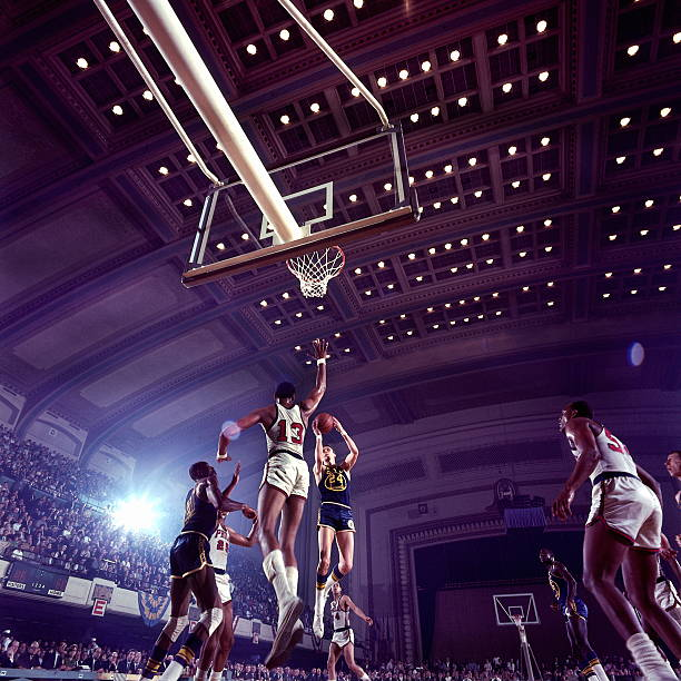 Rick Barry and Wilt Chamberlain Action Portrait