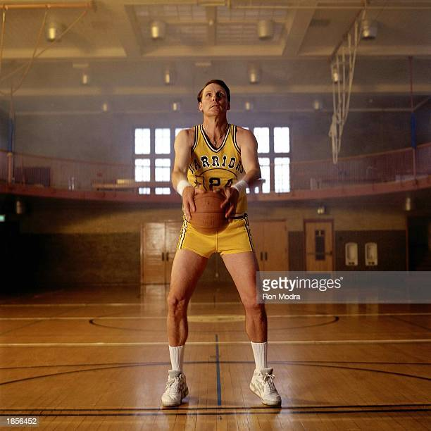 Rick Barry of the Golden State Warriors voted one of the Fifty Greatest Players poses for a portrait shooting his patented underhand foulshot in a...