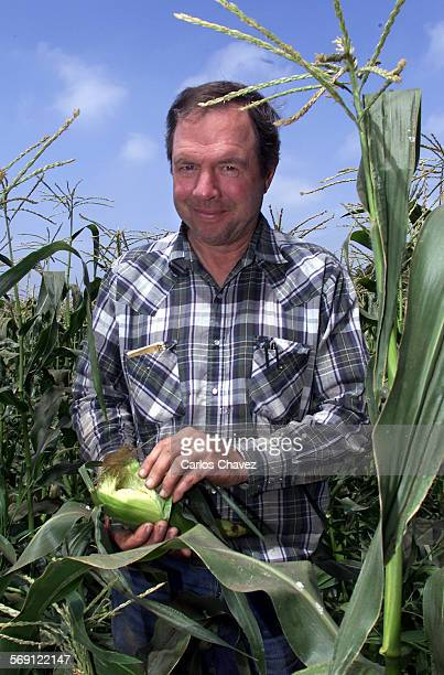 Rick Brecunier owner of Tierra Rejada FAmily Farm in Moorpark with an ear of corn from one of his corn fields