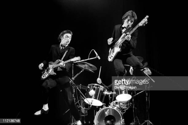 Rick Buckler Bruce Foxton and Paul Weller of The Jam in concert at the Rainbow February 1977