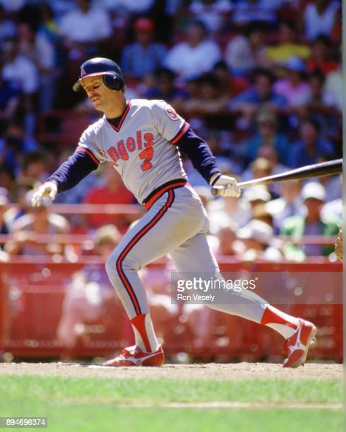 Rick Burleson of the California Angels bats during an MLB game at County Stadium in Milwaukee Wisconsin during the 1986 season